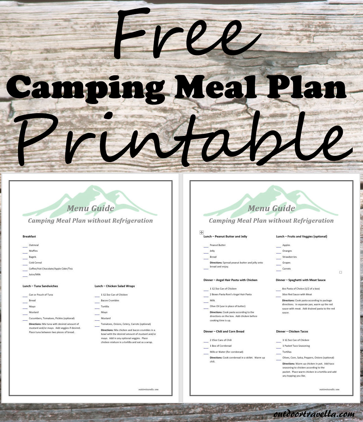 photograph relating to Camping Food List Printable known as No Refrigeration Tenting Food stuff Printable - Out of doors Travella